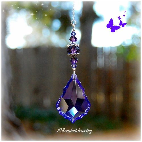 Purple Teardrop Crystal Suncatcher