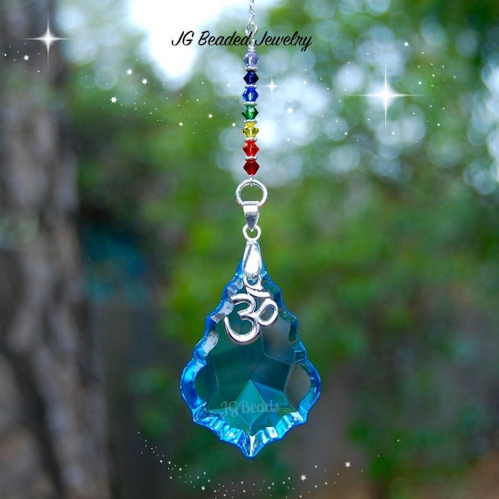 Om Chakra Blue Prism Crystal Suncatcher