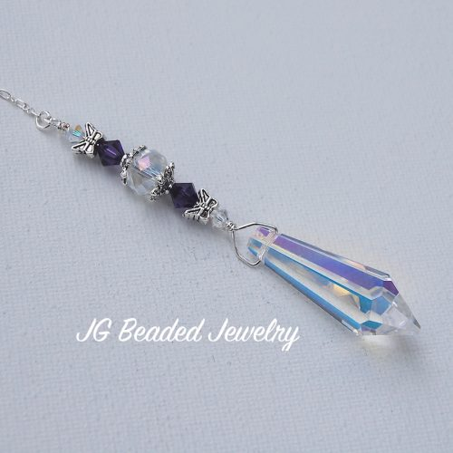 Purple Butterfly Teardrop Crystal