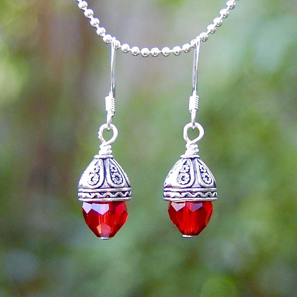 Red Crystal Drop Earrings