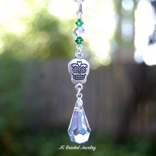 Crystal Sugar Skull Car Charm