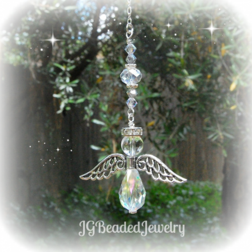 Crystal Quartz Beaded Angel
