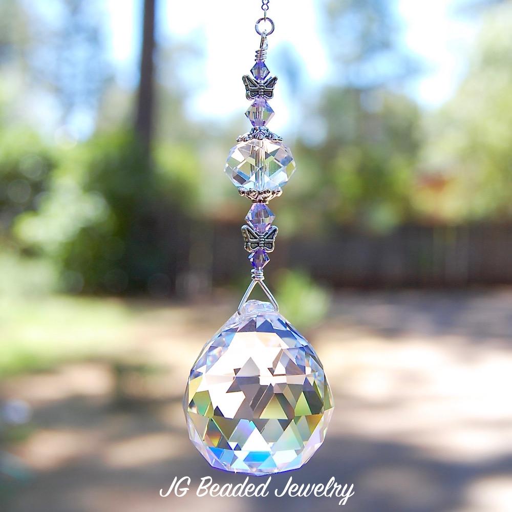 Purple Butterfly Suncatcher Jg Beads