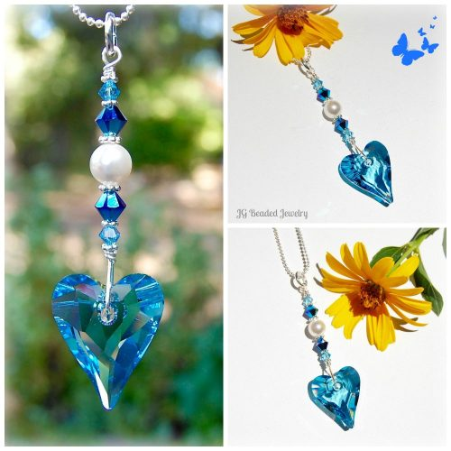 Blue Heart Swarovski Crystal Suncatcher