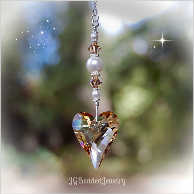Golden Heart Swarovski Crystal Suncatcher