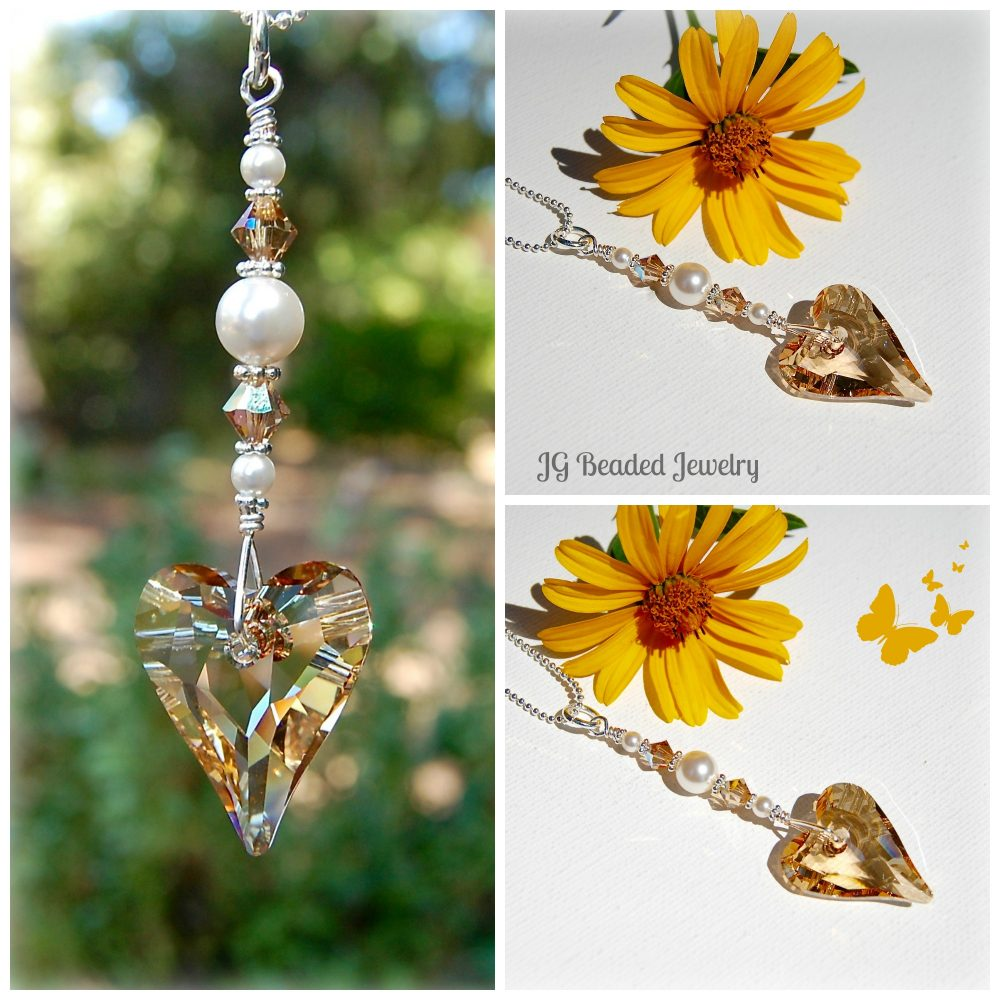 Golden Wild Heart Swarovski Suncatcher Crystal