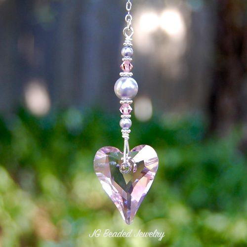 Pink Swarovski Heart Crystal Suncatcher
