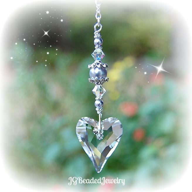 Lavender Swarovski Pearl Heart Crystal Suncatcher