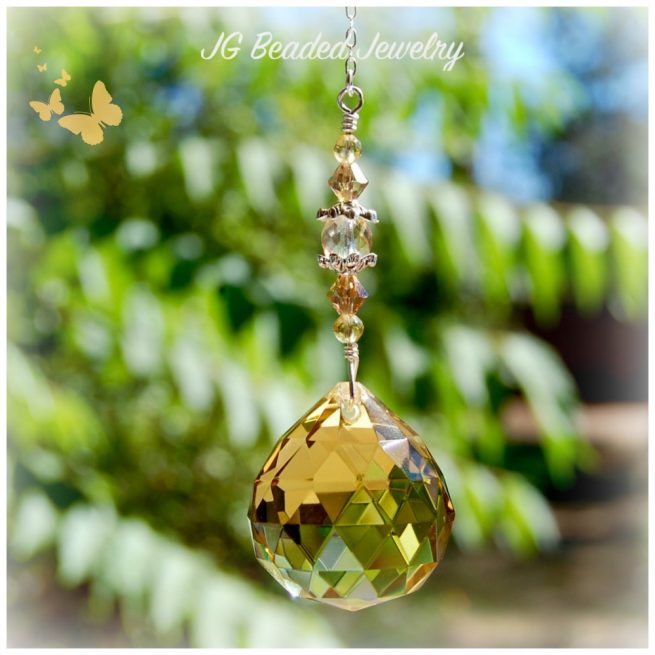 Golden Topaz Crystal Suncatcher
