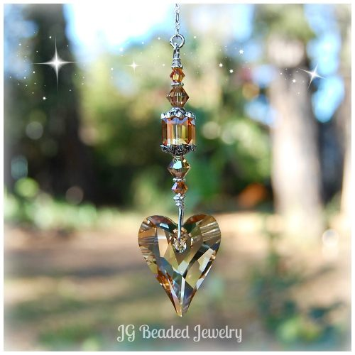 Gold Heart Swarovski Suncatcher