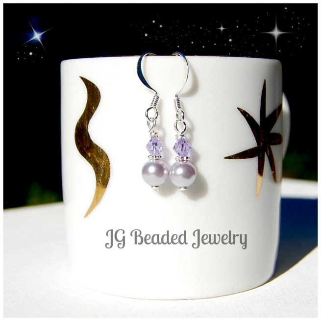 Swarovski Lavender Pearl Earrings