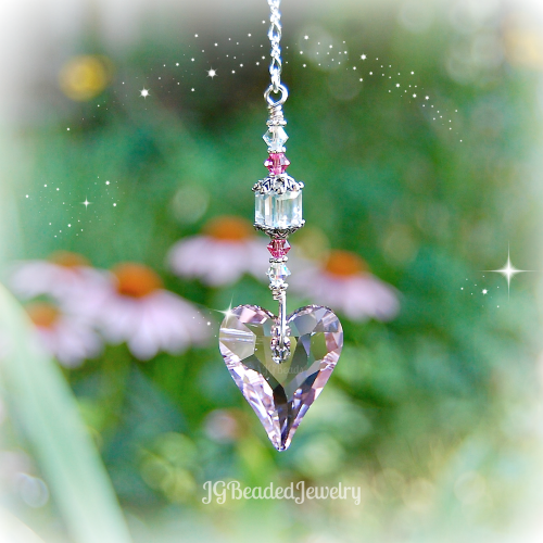 Pink Heart Swarovski Crystal Suncatcher