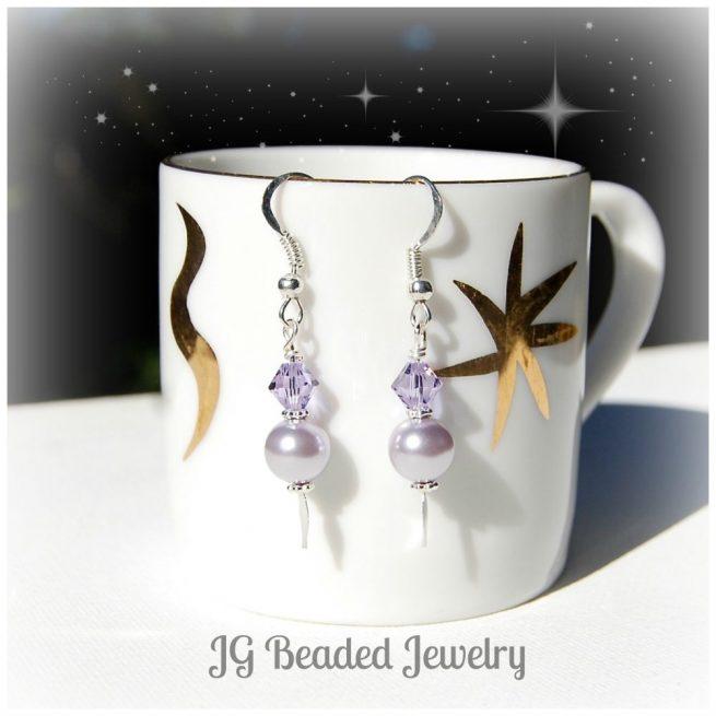 Swarovski Purple Pearl Earrings