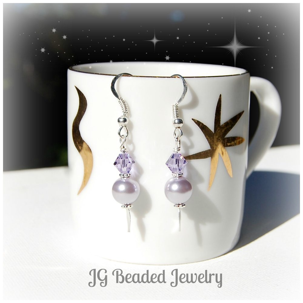 Swarovski Purple Pearl Earrings