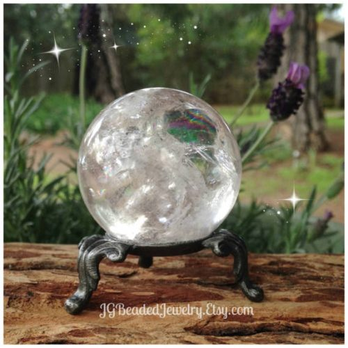 Crystal Ball Stand Pewter