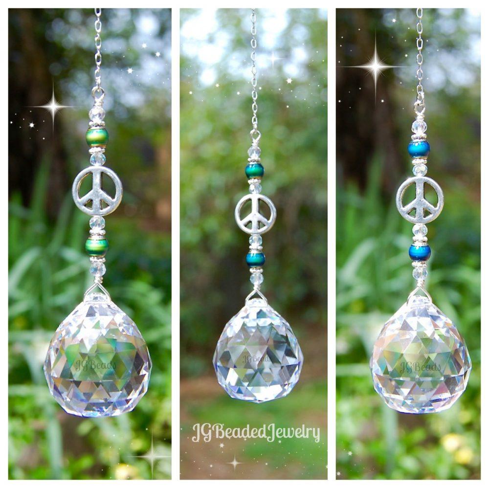 Peace Sign Suncatcher Jg Beads