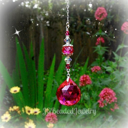 Fuchsia Crystal Suncatcher