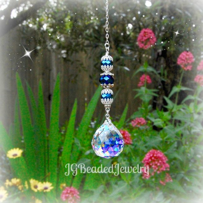 Iris Blue Crystal Suncatcher