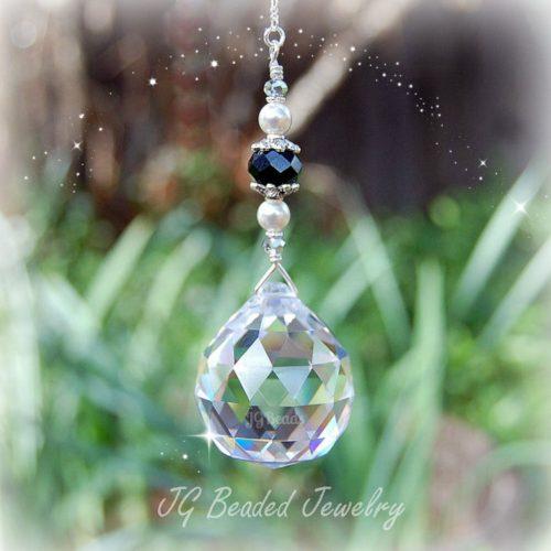 Black Pearl Crystal Suncatcher