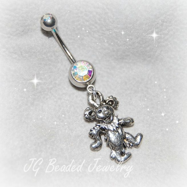 Dancing Bear Grateful Dead Belly Ring
