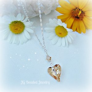 Golden Topaz Crystal Heart Necklace