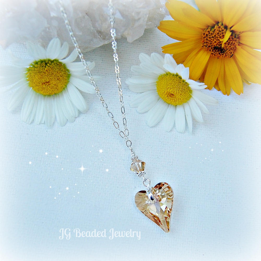 Golden Topaz Crystal Heart Necklace