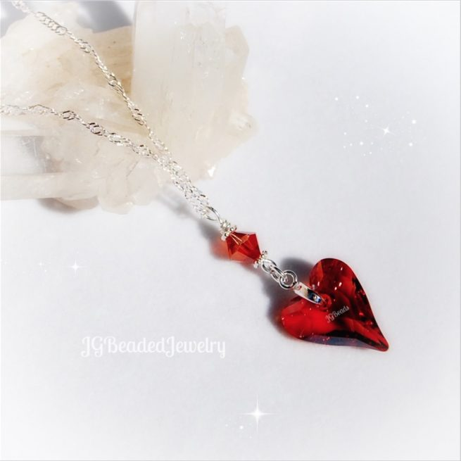 Red Heart Swarovski Crystal Pendant Necklace