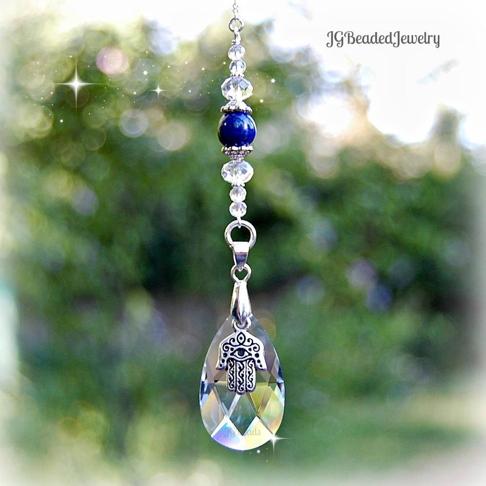 Lapis Lazuli Hamsa Suncatcher
