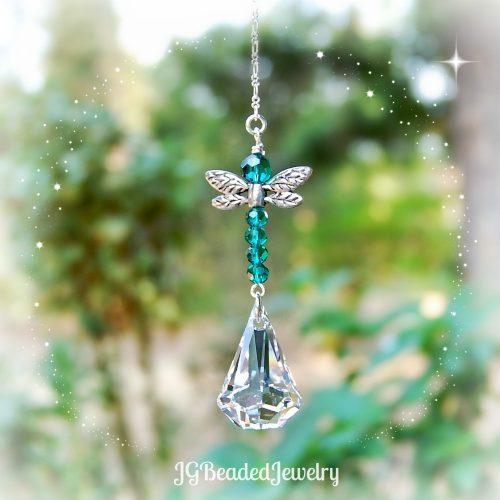 Emerald Swarovski Dragonfly Suncatcher