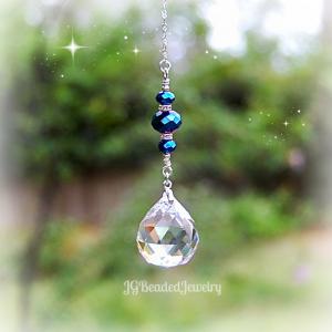 Iris Blue Hanging Prism Crystal