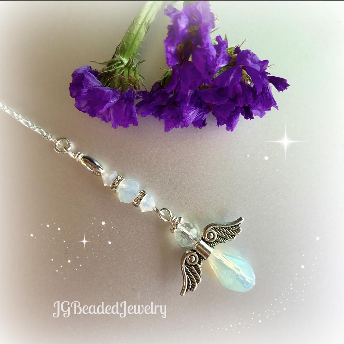 Opal Guardian Angel Ornament