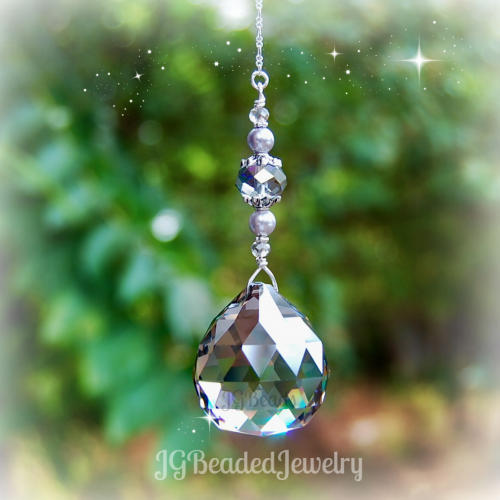 Lavender Pearl Silver Shade Hanging Prism