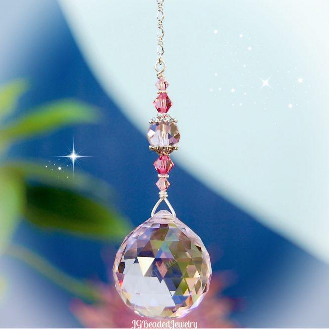 Pink Prism Swarovski Crystal Suncatcher