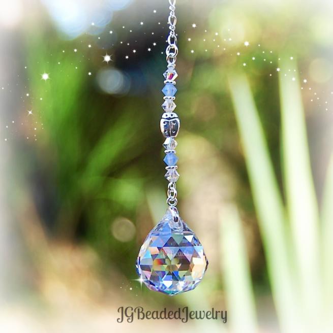 Blue Opal Ladybug Suncatcher