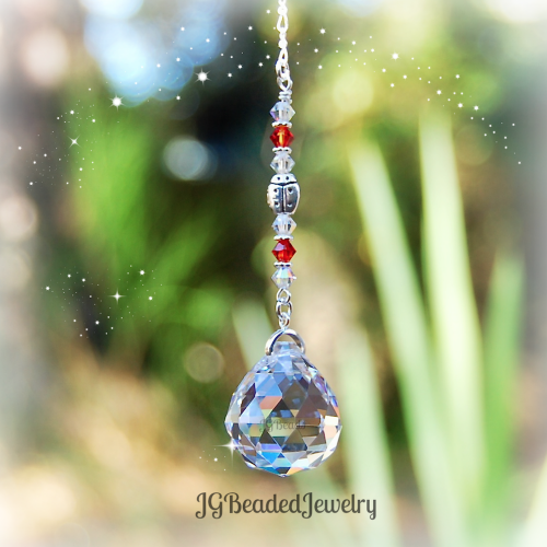 Fire Opal Ladybug Suncatcher