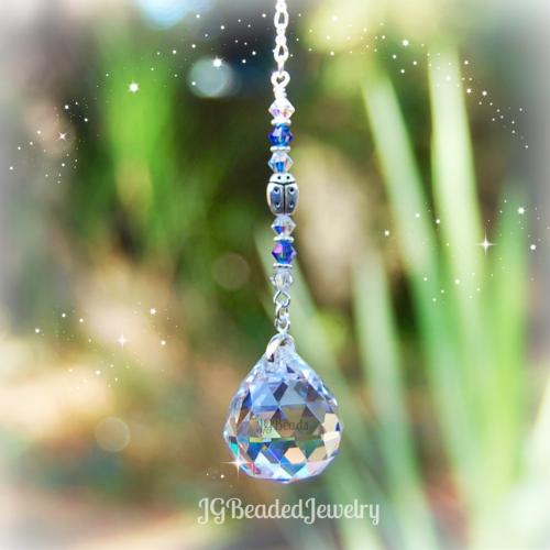 Sapphire Blue Ladybug Suncatcher
