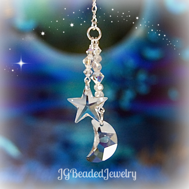 Moon and Star Swarovski Crystal Decoration