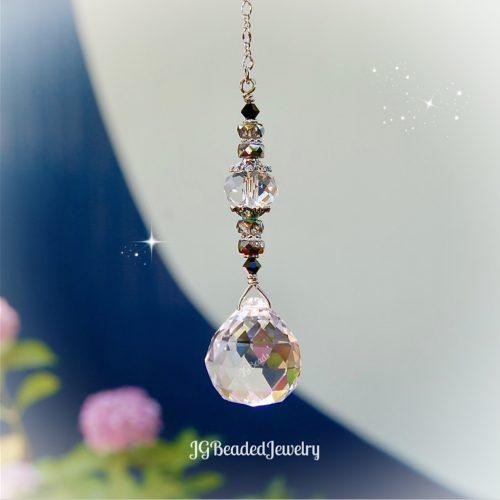 Hanging Prism Black Swarovski Crystal