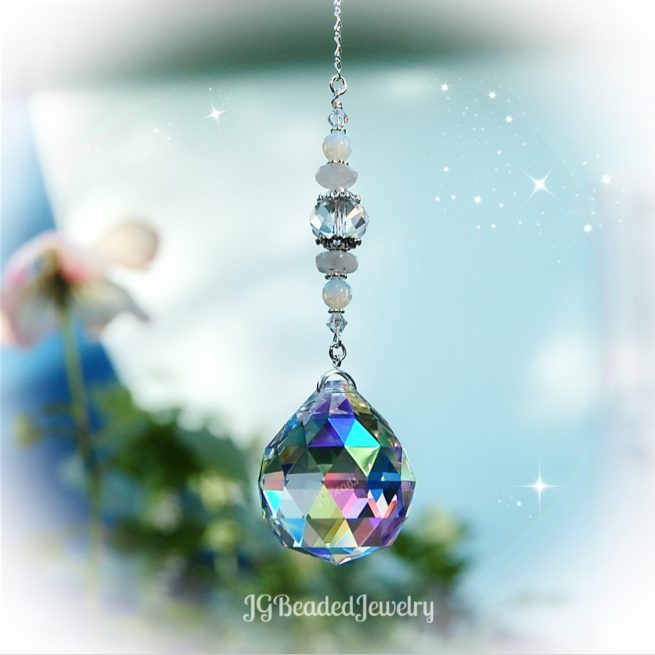 Moonstone Prism Crystal Suncatcher