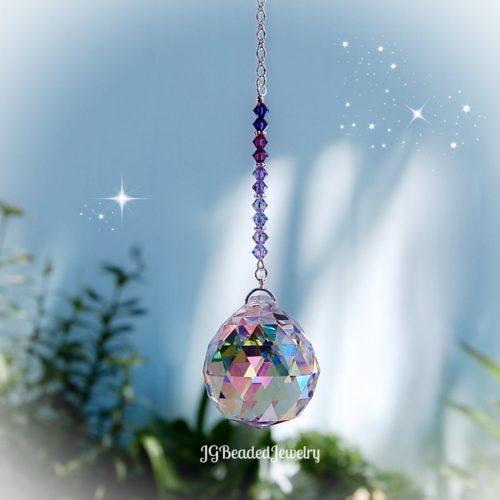 Purple Rain Prism Crystal Suncatcher