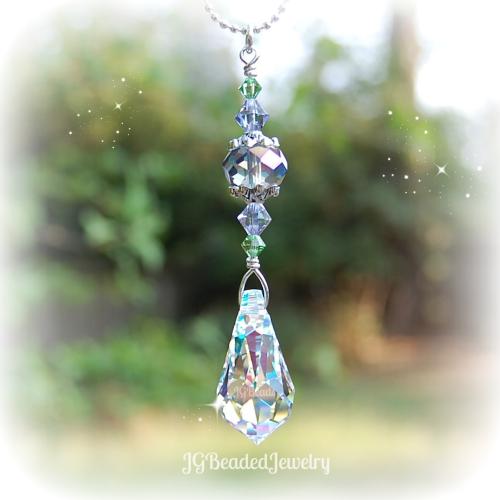 Swarovski Teardrop Lavender Peridot Crystal