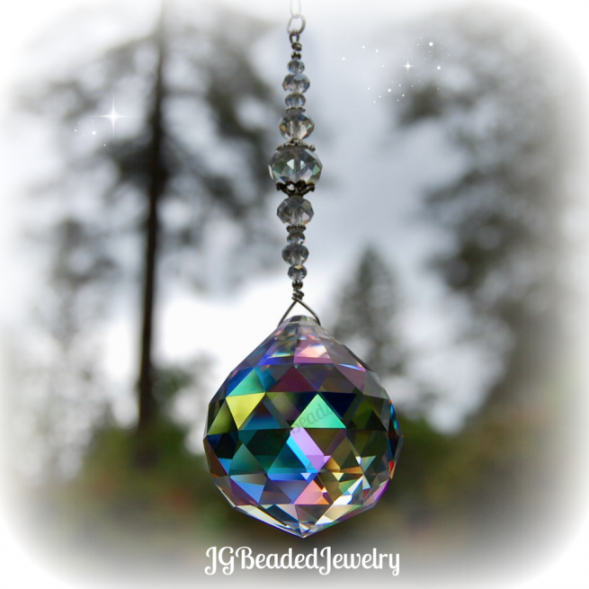 Rainbow Prism Beaded Crystal Suncatcher
