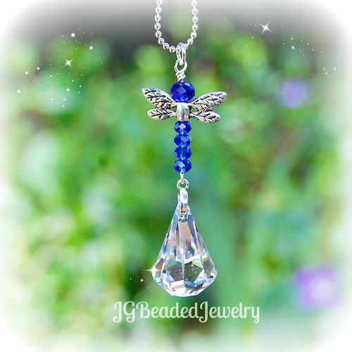 Blue Dragonfly Swarovski Crystal Suncatcher
