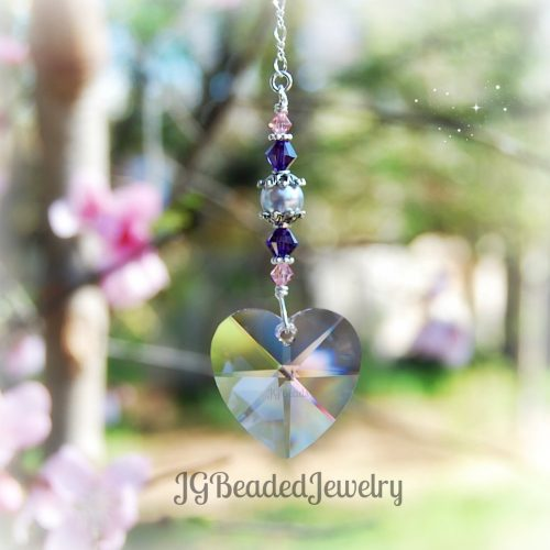 Lavender Pearl Pink Swarovski Crystal Heart