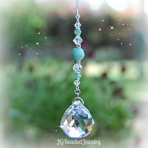 Mint Green Prism Crystal Suncatcher