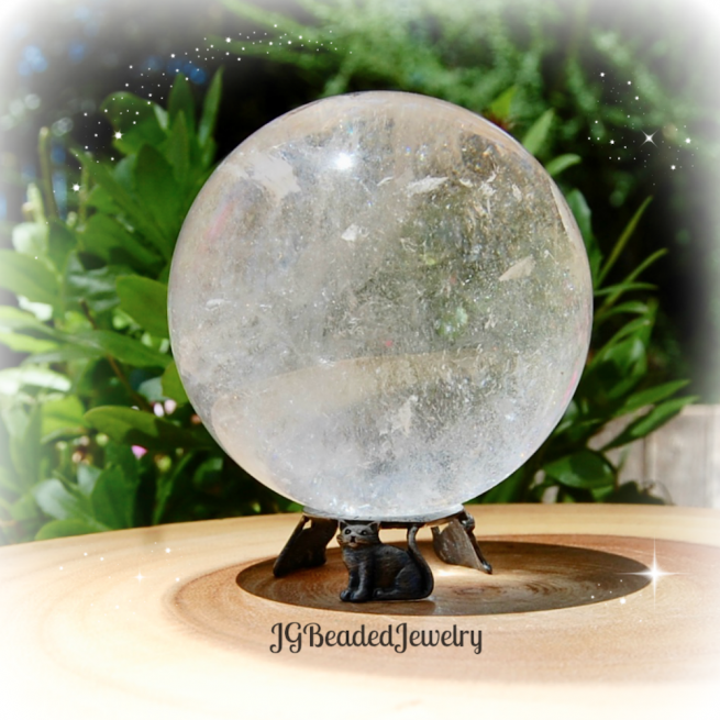 Pewter Cat Crystal Ball Stand