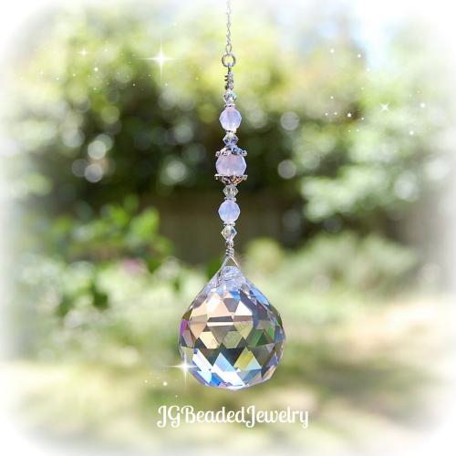 Pink Opal Crystal Suncatcher