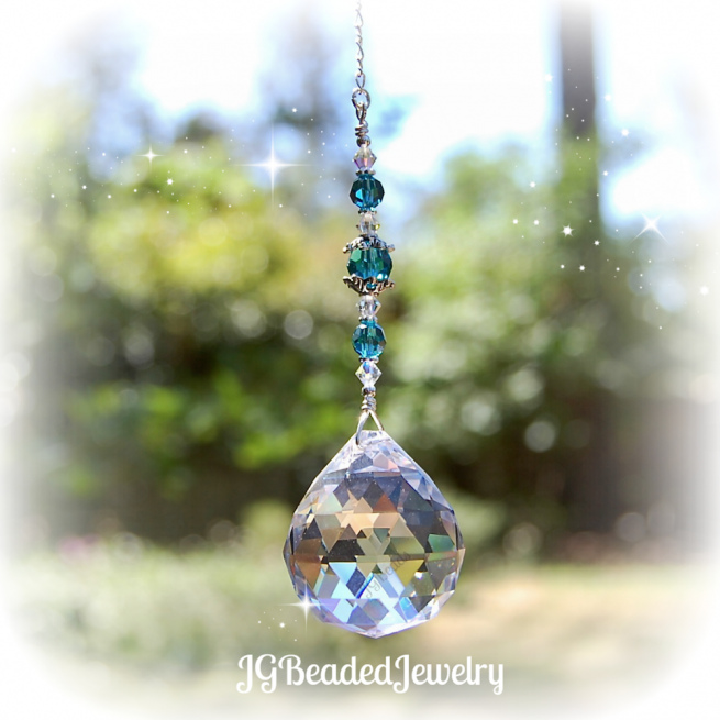 Teal Blue Crystal Suncatcher