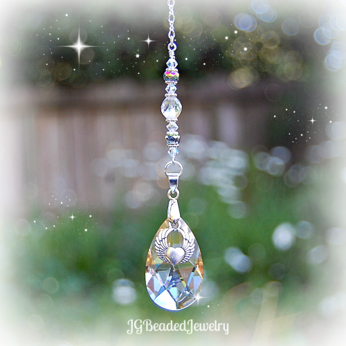 Winged Heart of Gold Crystal Suncatcher