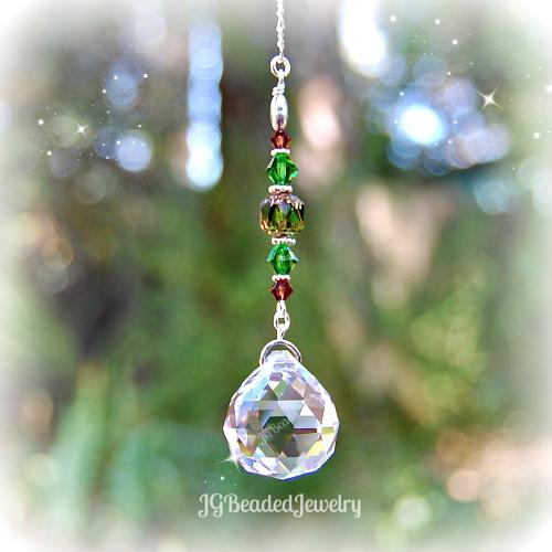 Green Brown Prism Crystal Suncatcher